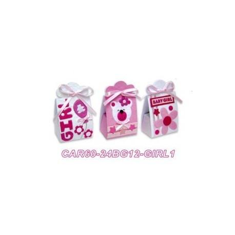 24 boîtes bébé roses