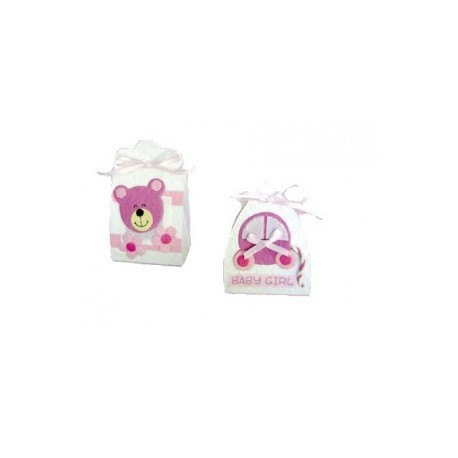 18 boîtes bébé roses
