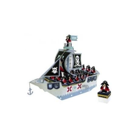 présentoir bateau pirate + 16 boîtes pirates