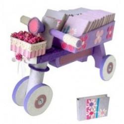 Présentoir tricycle + 24 bloc-notes fleurs