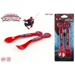 Lot de 2 couverts Spiderman en PVC.