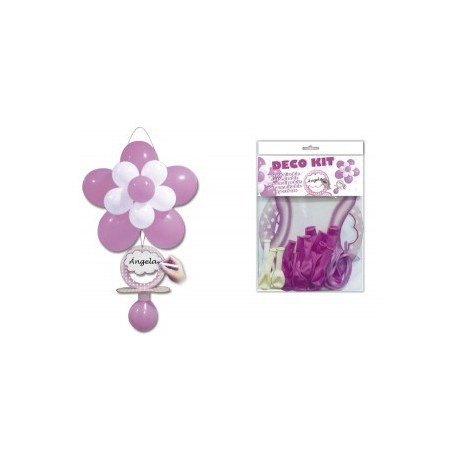 """Kit ballon """"tétine baptême"""" rose"""
