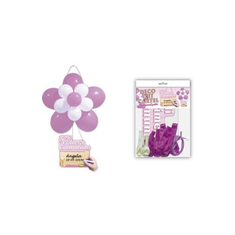 "Kit fleur en ballon + Affiche ""Communion"" Rose"