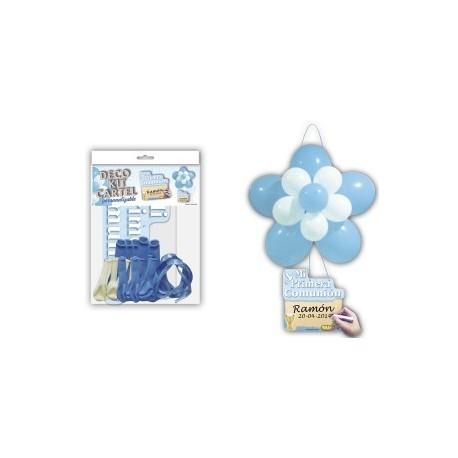"Kit fleur en ballon + affiche ""communion"" bleu"