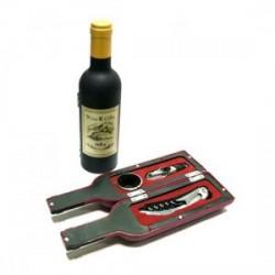 Set 3 pièces bouteille de vin