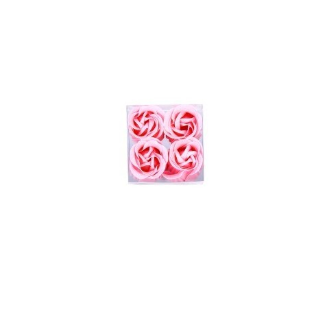 4 fleurs de savon présenté dans le cas d'organza décorée avec un arc correspondant