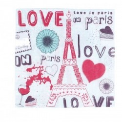 "Lot 20 serviettes ""Love In Paris"""