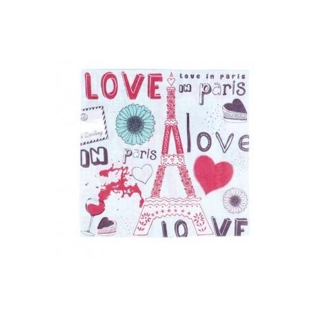 """Lot 20 serviettes """"Love In Paris"""""""