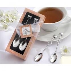 Set 2 cuillères à café en argent chromé