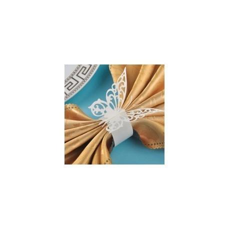 """Lote 12 serviettes en attente de mariage """"Papillons"""" White"""