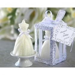 Bougie Robe de mariée présentée dans une boîte cadeau