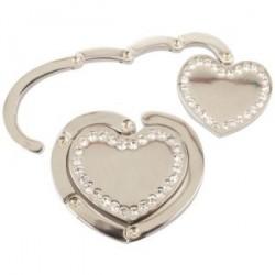 Accrochez sacs métallique brillant coeur
