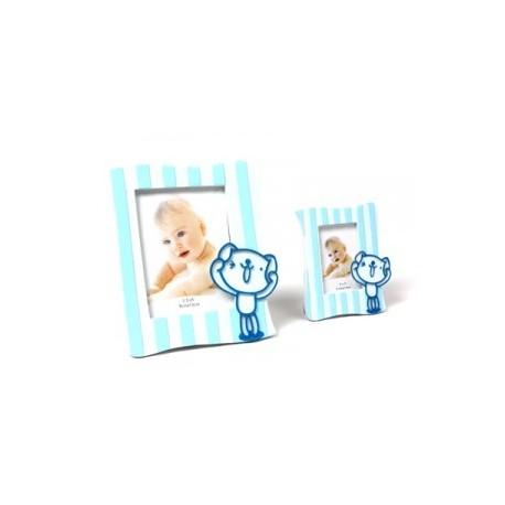 Cadre photo bébé bleu L