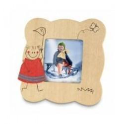 Cadre photo en bois Figure communion avec les enfants.