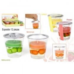 Bougie en verre parfumée aux fruits