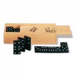 Dominos dans une boîte en bois.