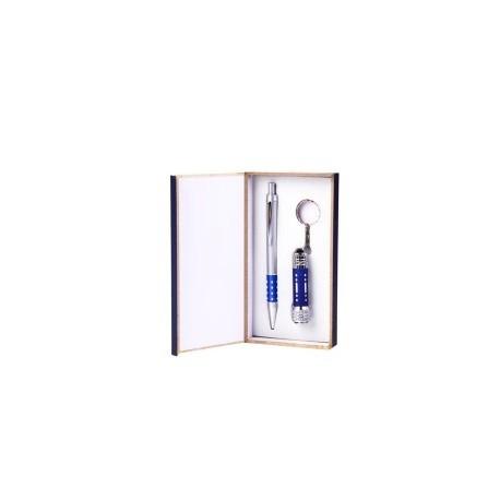 Stylo + Porte-clés lampe de poche Set bleu ou noir,