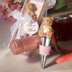 Belle bouchon de bouteille de vin en forme de nounours rose.