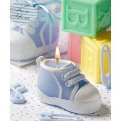 Bougie baskets bébé bleu/rose